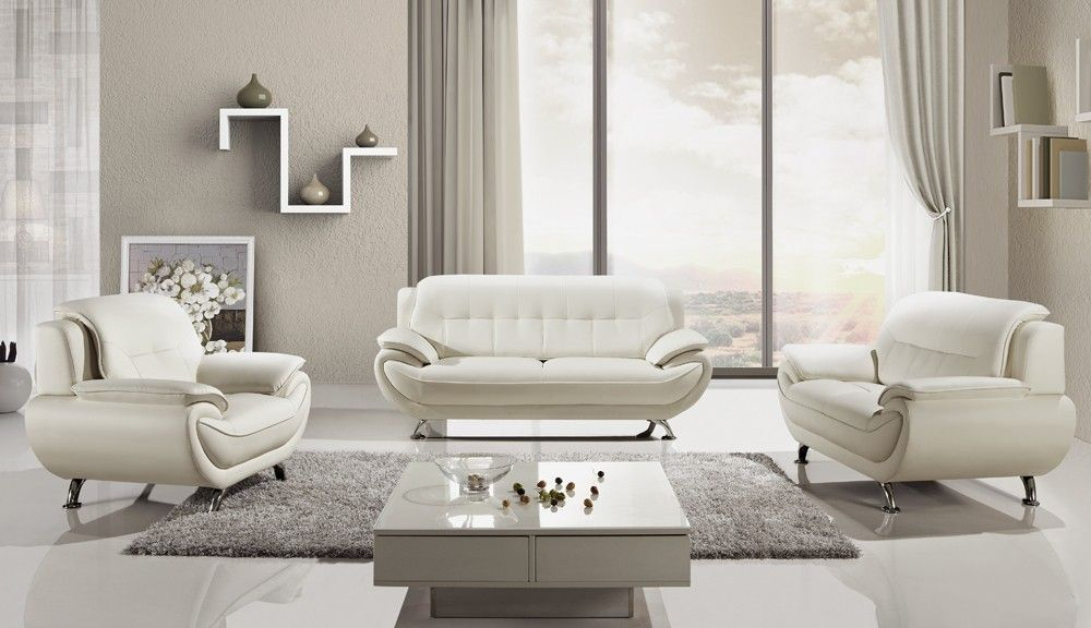 Sabina Modern Grey Leather Living Room White Leather Sofas