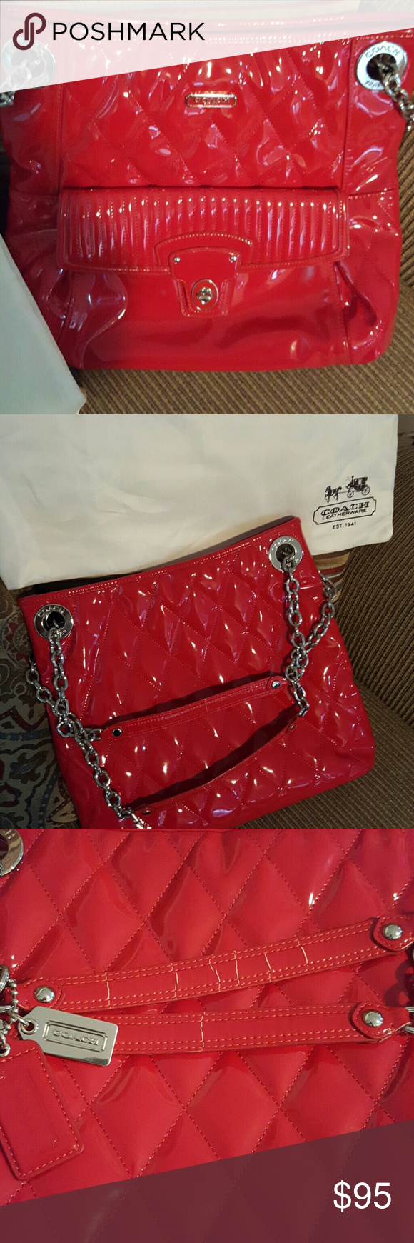 Coach Poppy Liquid red and tote There is only two spots on the inside and the handle has some cracks shown in the pictures Coach Bags Totes