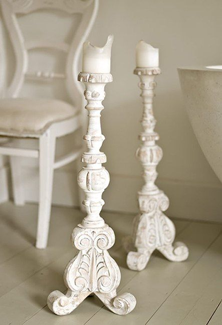 Antique White Wooden Candelabras White Candle Holders White Wooden Candlesticks White Candle Sticks