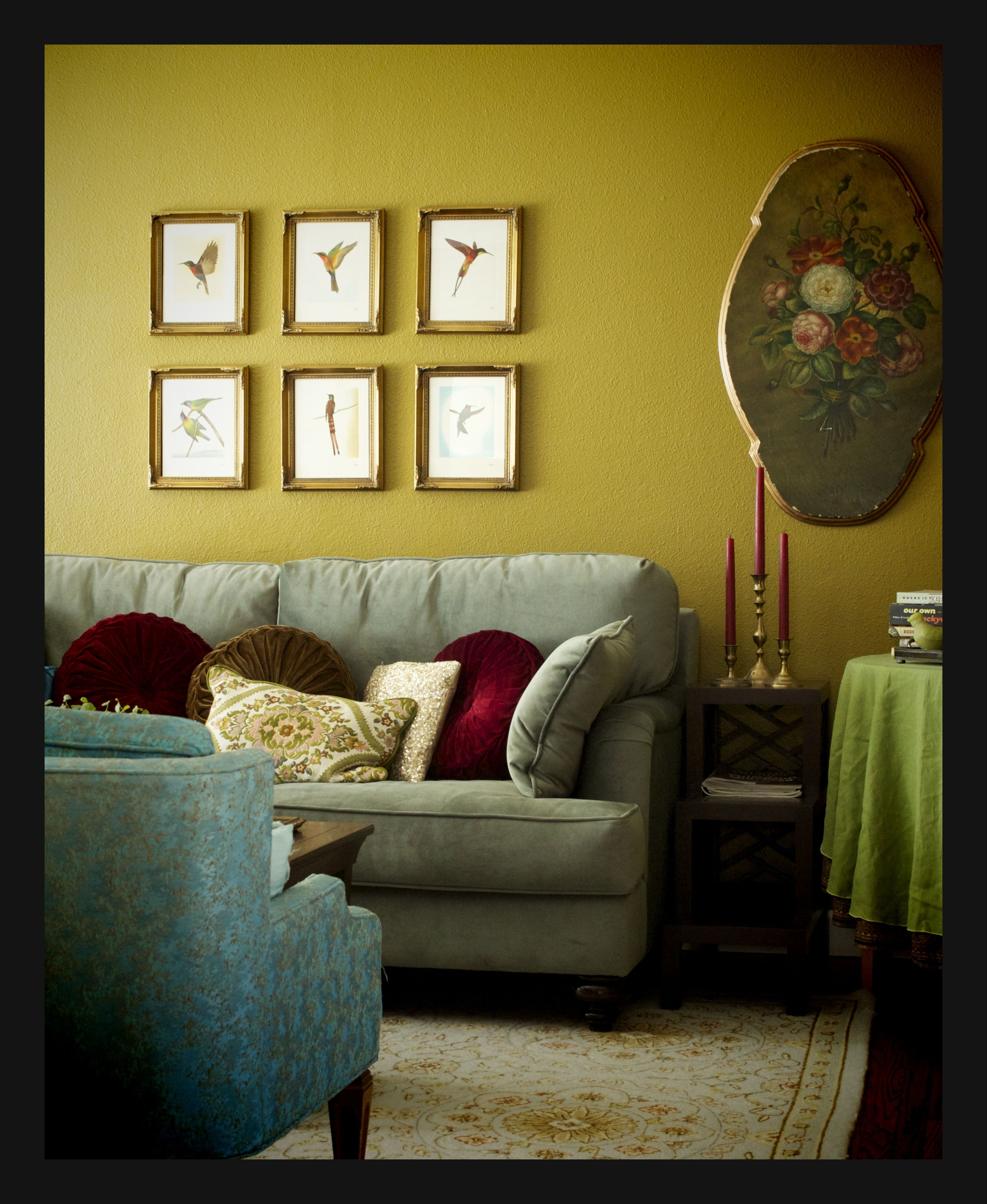 This Living Room wall color coordinates and ties this room ...