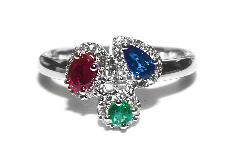 #200-10448 - LADIES 14 KARAT RING WITH A .27 CARAT OVAL CUT RUBY, A .21 CARAT PEAR CUT SAPPHIRE, A .09 CARAT EMERALD, AND 30 ROUND CUT DIAMONDS. PLEASE CONTACT STADLER'S FOR MORE INFORMATION