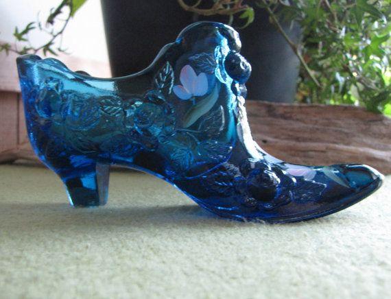Fenton Cobalt Blue Shoe Hand Painted D. Yewel Blue Glass Shoe Home Decor  Collectibles