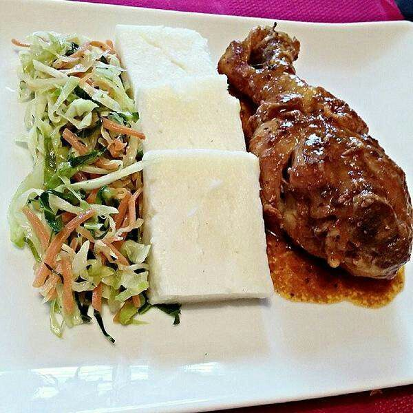 Chickensauteed cabbage and Ugali   Chickensauteed cabbage and Ugali