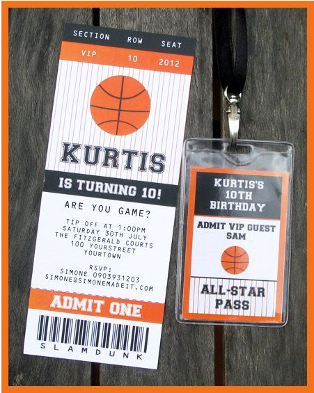 Basketball Ticket Invitation \ Printable Party Collection - ticket invitation