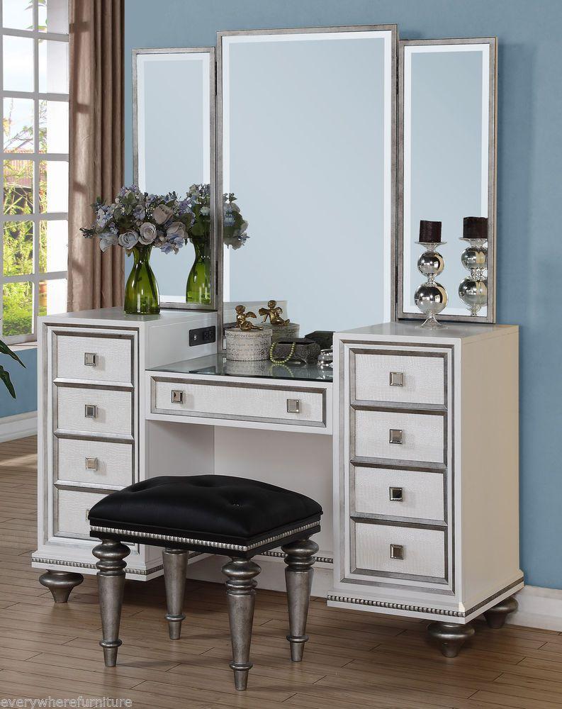 Hollywood Regency Glam Mirrored Console Cabinet Vanity Table Bedroom Furniture Wynwood Hollywoo Bedroom Furniture For Sale Mirrored Console Cabinet Furniture
