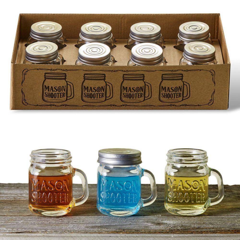 Mini Mason Jar Shot Glasses With Lids Handles Drinks Wine Party 2 Oz Set Of 8 Hayleycherie Mason Jar Shot Glasses Mason Jar Shots Mini Mason Jars