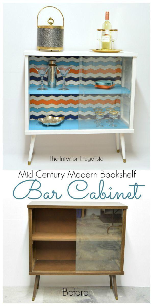 Mid Century Modern Bookshelf Transformed Into A Funky Bar   The Interior  Frugalista: Mid