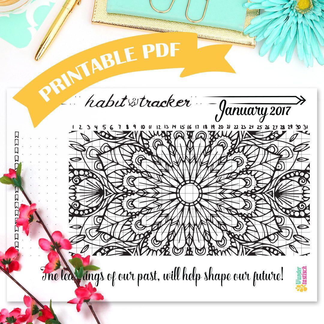 Printable Habit Tracker Coloring Page • Mandala Coloring Page ...