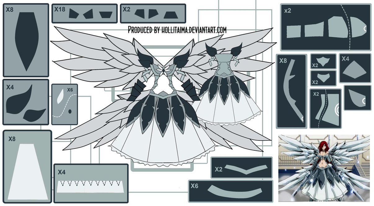 Design Draft For Erza Scarlet S Heaven S Wheel Armor Cosplay Costume
