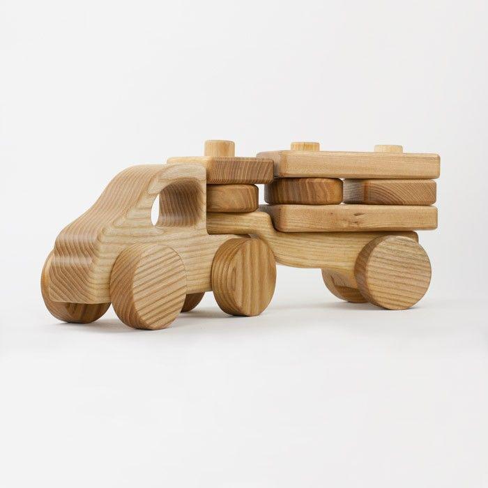 holzlastwagen mit anh nger und stapelbaren elementen aus massivem eschenholz mit lein l. Black Bedroom Furniture Sets. Home Design Ideas