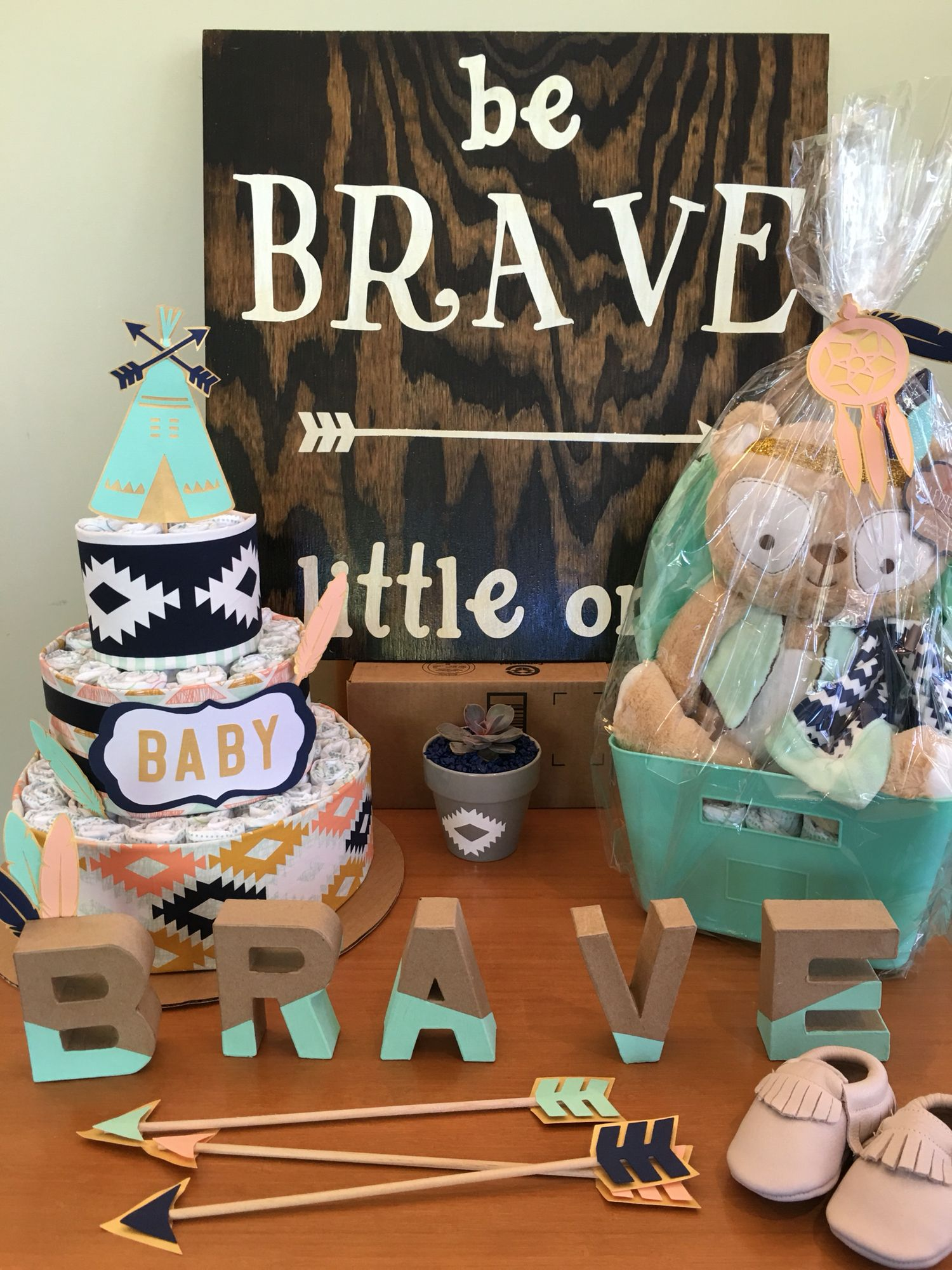 "Baby Shower Themes And Colors tribal ""be brave little one"" gender neutral baby shower with arrows"