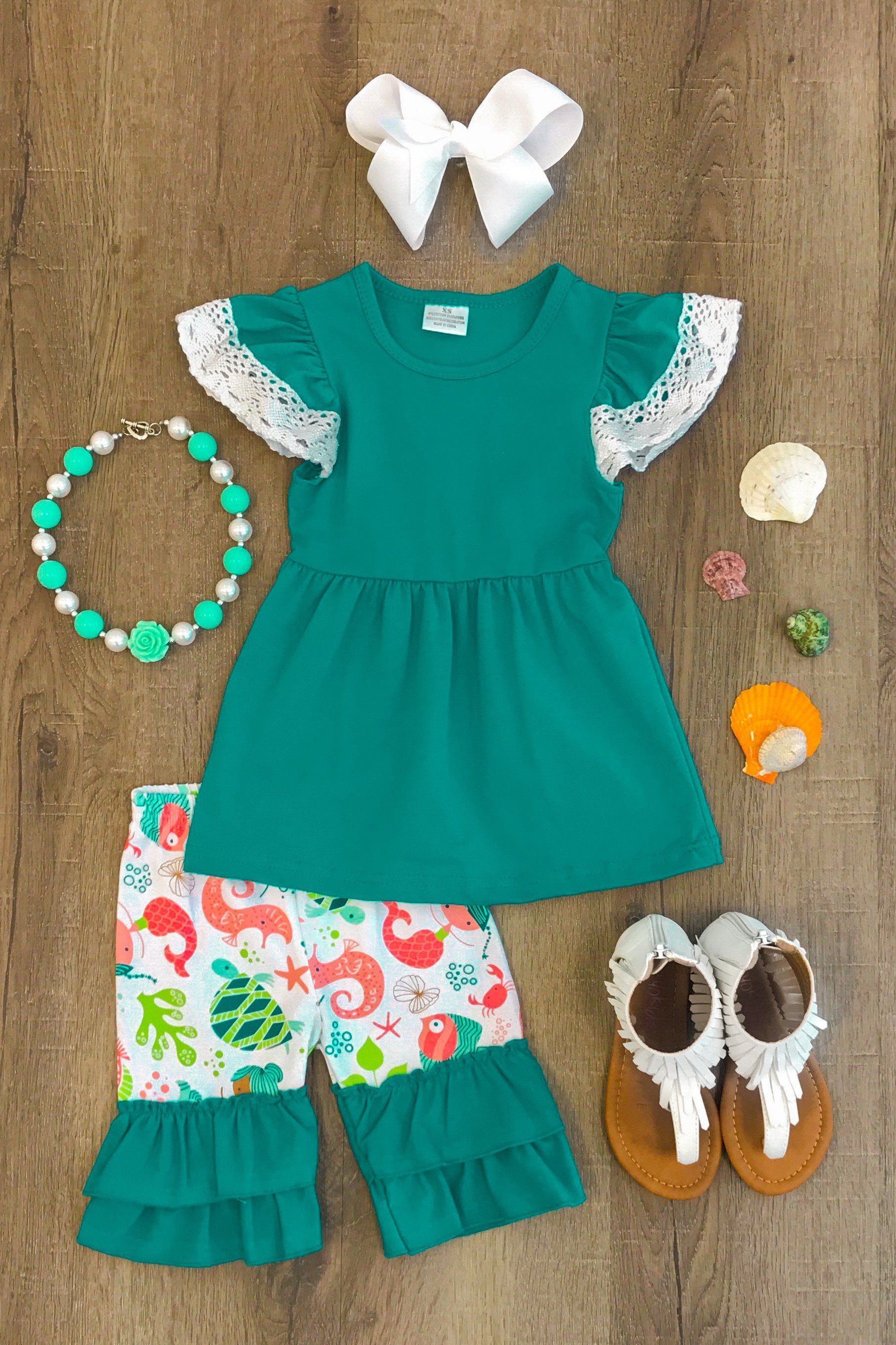 Teal Mermaid Crochet Short Set Boutique Outfits