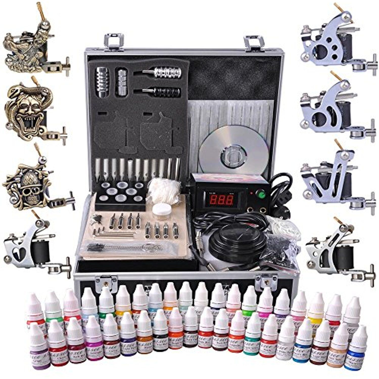 AW Professional Complete Tattoo Kit 8 Machine 40 Ink Gun Power Supply Grip Tip Foot Switch Set ** Want to know more, click on the image. (This is an affiliate link) #TattooSupplies