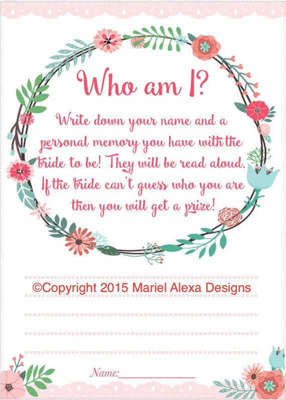bridal shower game who am i memory game pink floral garden party shabby chic theme fun