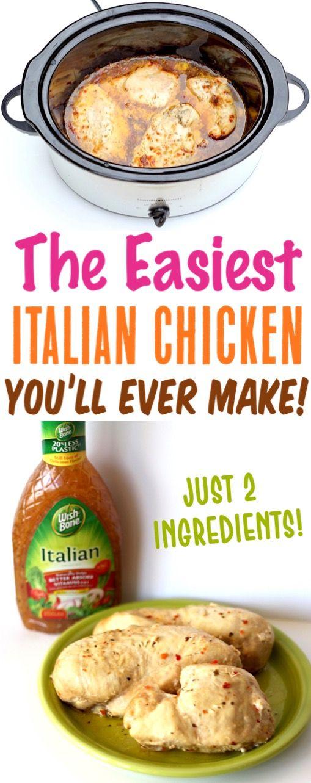 Easy Crockpot Italian Chicken Recipe! {2 Ingredients!} - The Frugal Girls #easycrockpotchicken