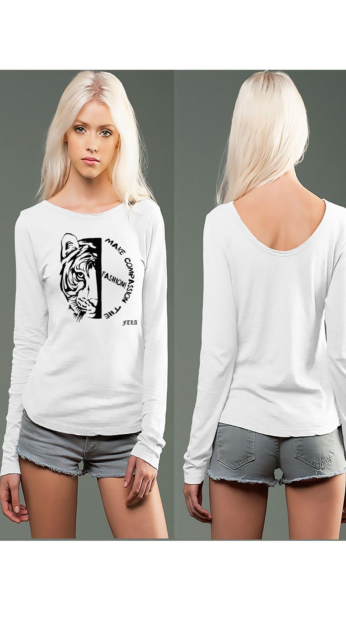 981652f1cf5 White eco-HYBRID™ Slub Micro Jersey Long Sleeve Scoop Back Tee - Make  Compassion The Fashion!!