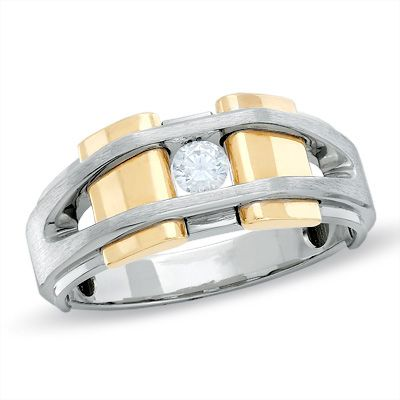 Two tone wedding bands with diamonds for men