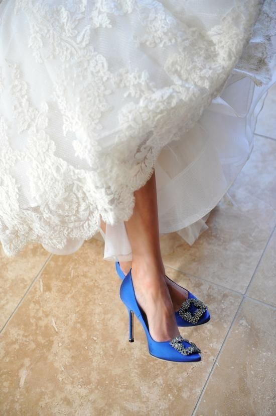 a3298c5016d6 27 Looks with Hangisi Manolo Blahnik. Glamsugar.com Gorgeous Manolo Blahnik  shoes work as the perfect something blue!