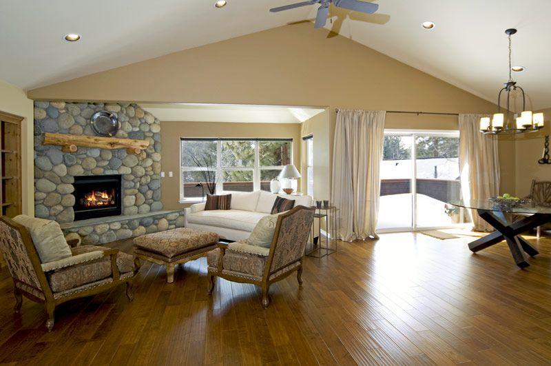 Corner Fireplace, floor color, and plain ceiling even looks ok hmmm...