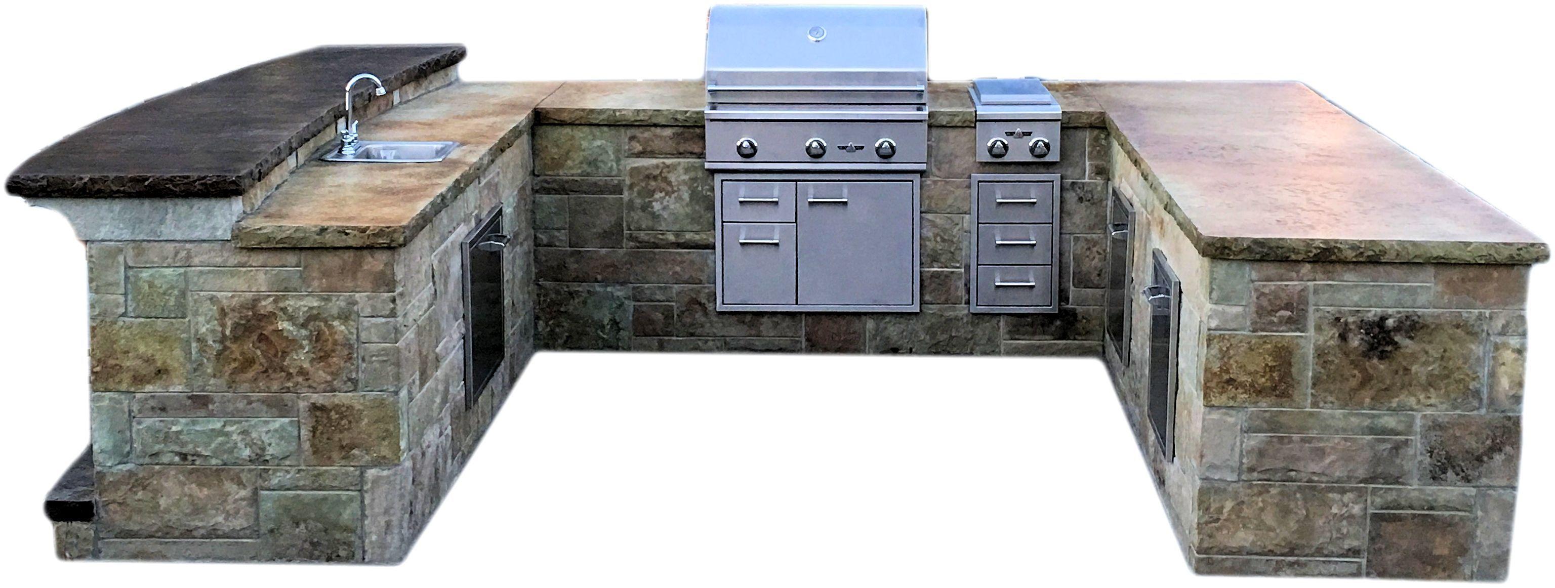 Modular Precast Panel Kitchen U Shaped 10 Ft With Bar Outdoor Kitchen Design Kitchen Remodel Countertops Outdoor Kitchen