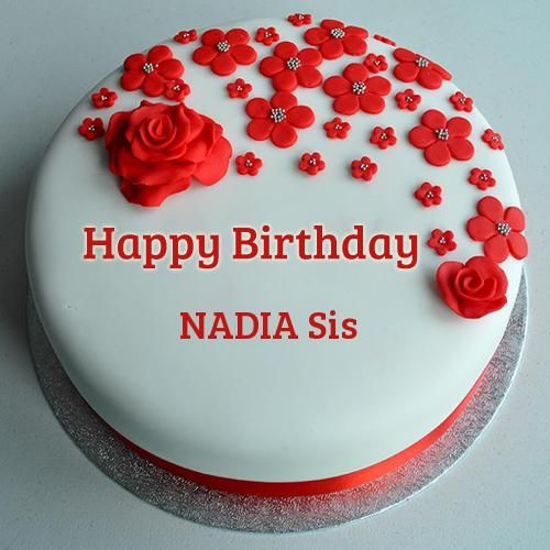 Red Rose Decorated Birthday Cake With Your Name