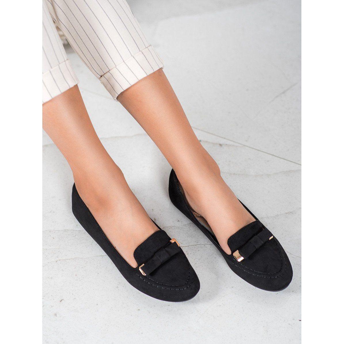 Shelovet Zamszowe Baleriny Czarne Shoes Mule Shoe Slippers