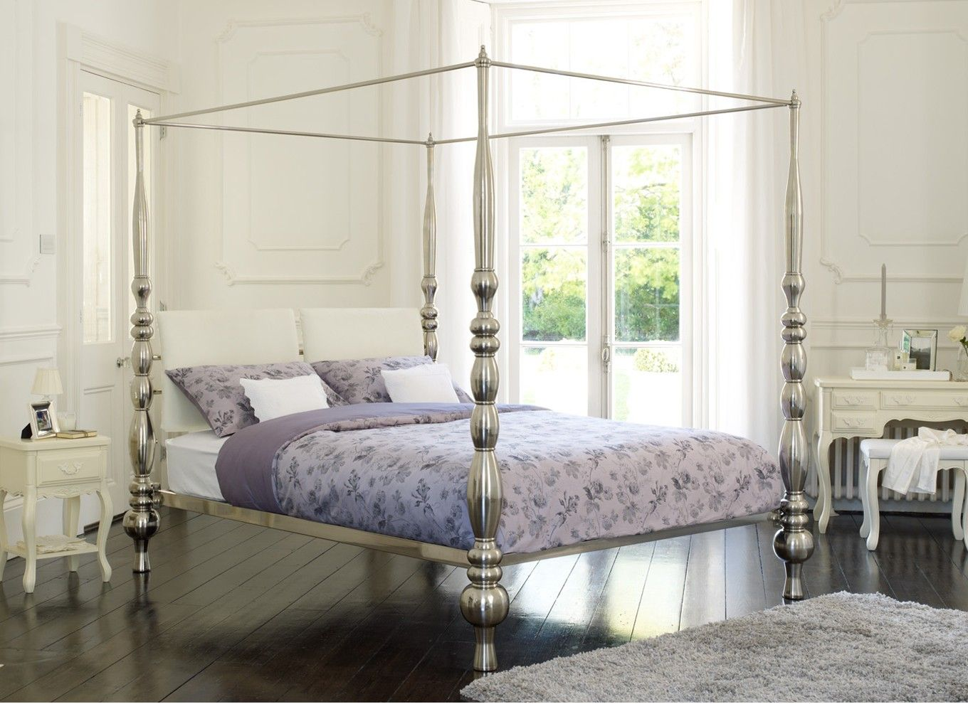 Amazing four poster bedstead in brushed metal - pretty as is or ...
