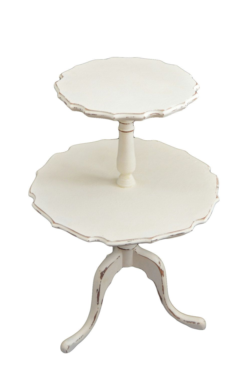 End Table 2 Tier Scalloped Pedestal Table Vintage Chippy White Painted  Furniture Round Table Shabby Chic