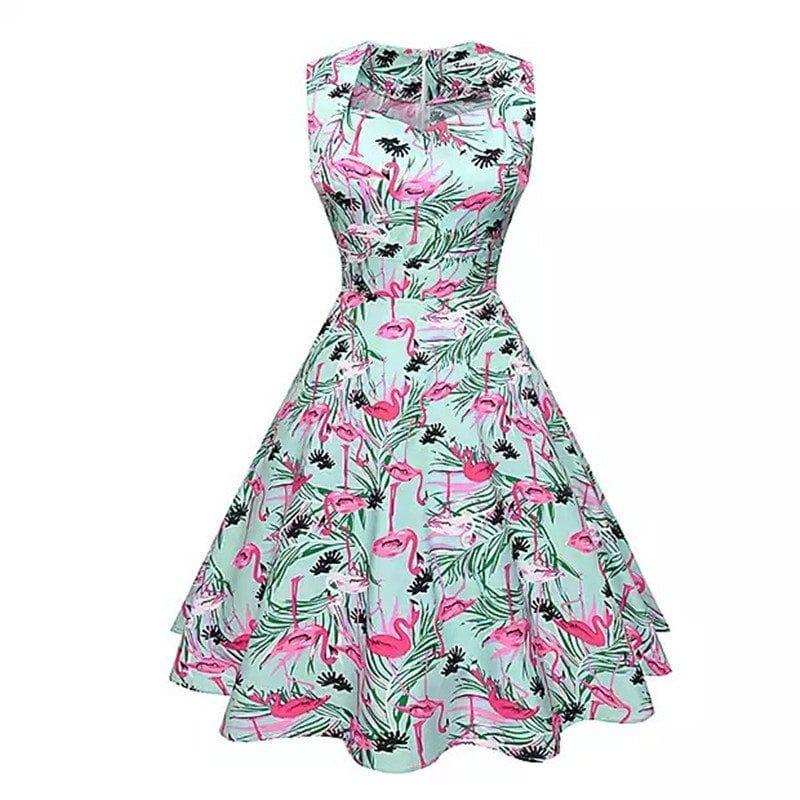 9baa3c7f0309 Spring Summer Flamingo Print Dress