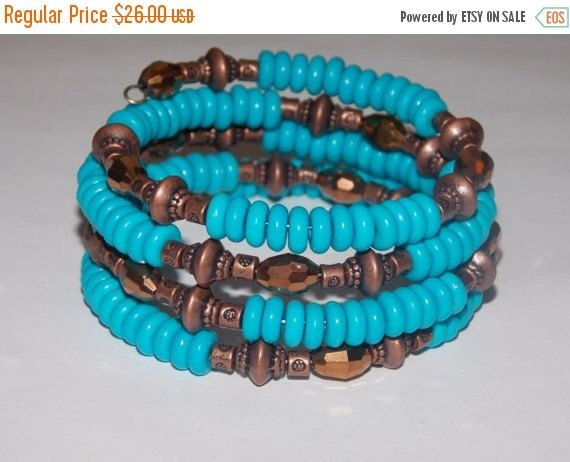 CLEARANCE 30%OFF Turquoise Howlite with Copper and by EriniJewel