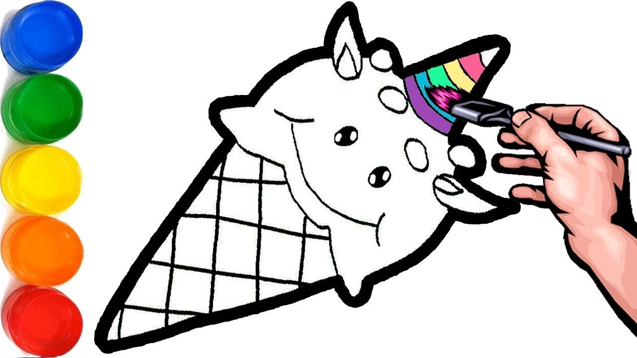 Glitter ice cream unicorn coloring and drawing for kids