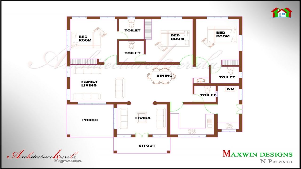 Single Floor 4 Bedroom House Plans Kerala House Plans With Photos Kerala House Design House Plans With Pictures