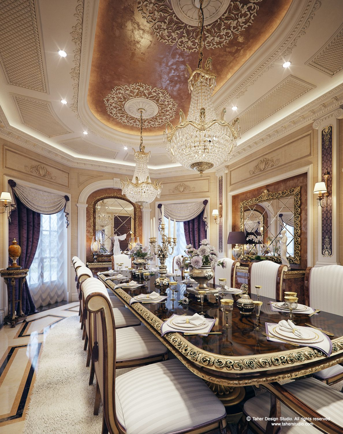 "Inside House Drawing: Luxury Mansion Interior "" Qatar """