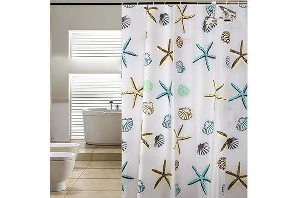 Blu Pier Decorative Starfish And Sea Shells Shower Curtain