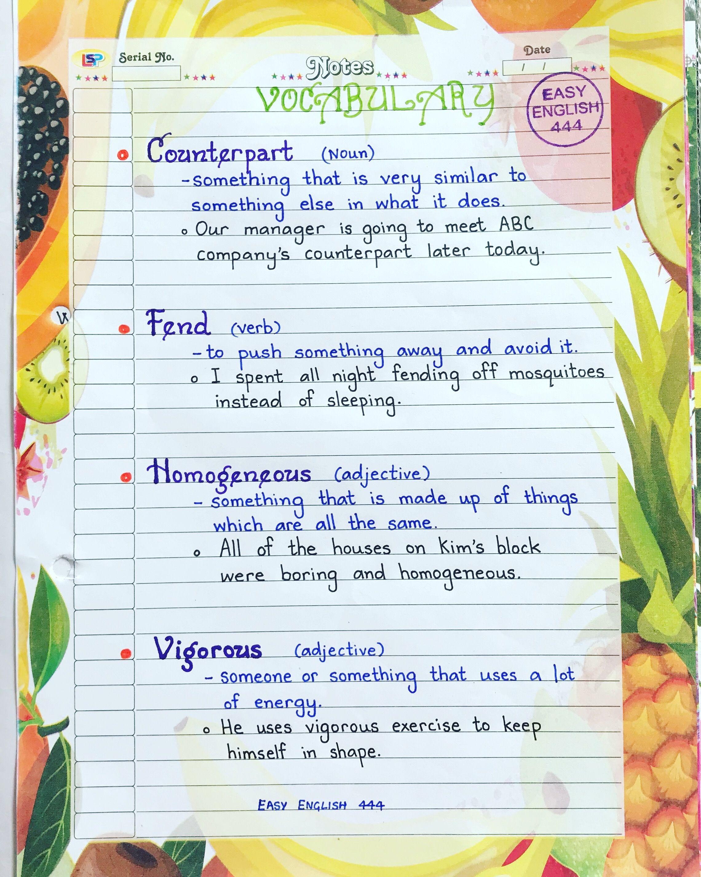English Vocabulary Learn English Vocabulary