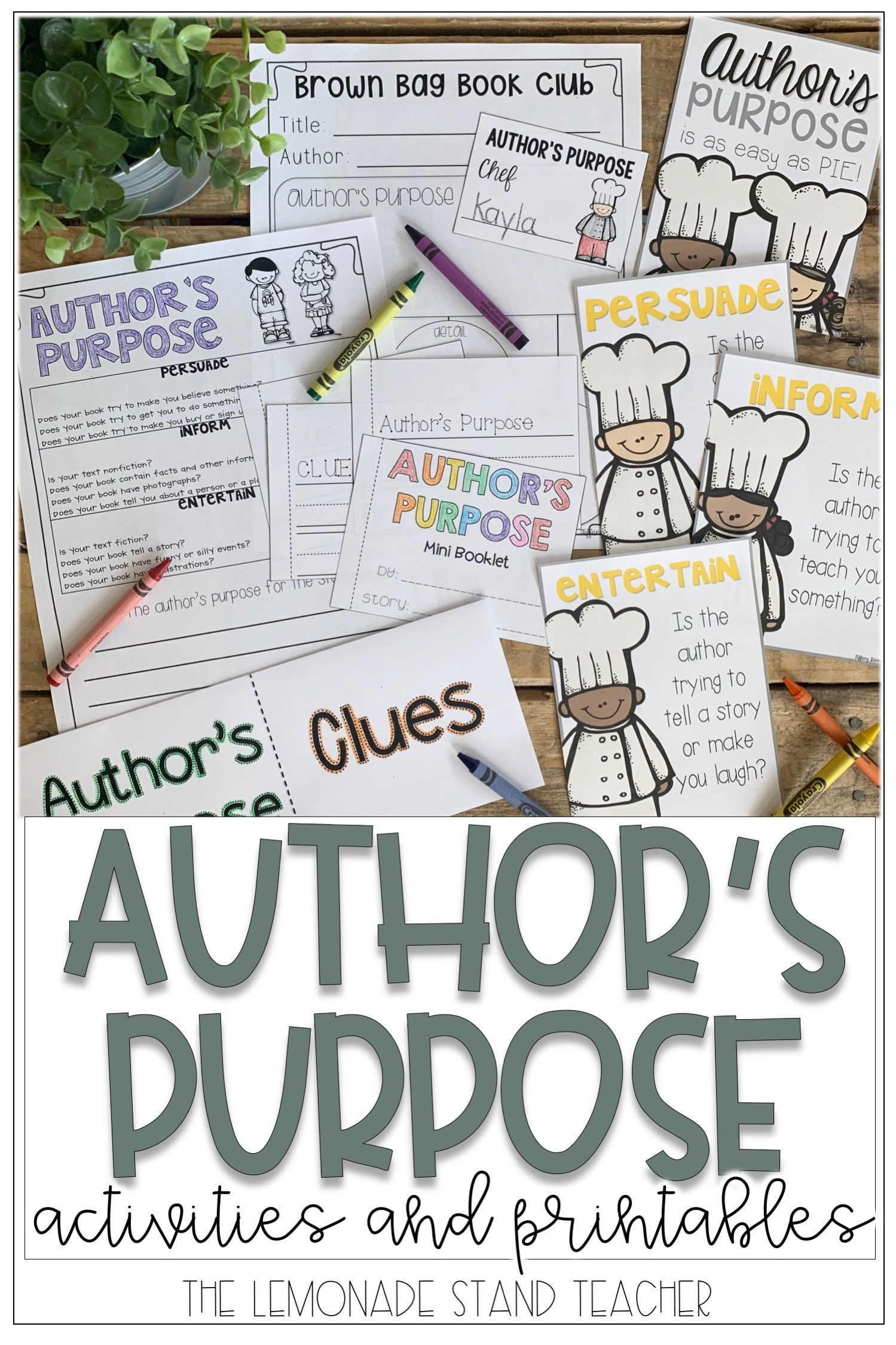 Author S Purpose Activity Packet With Images