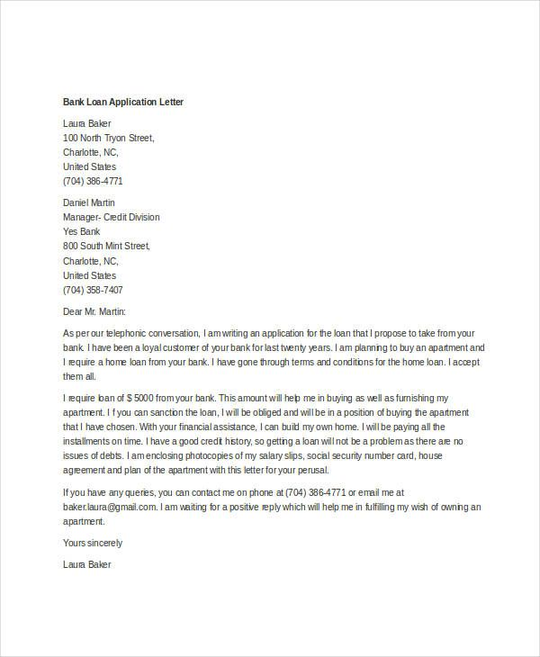 Loan Application Letter Templates Free Word Documents Download