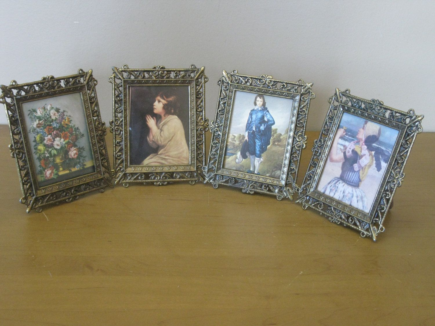 made in italy set of 4 antique brass frames easel back victorian art ornate victorian frames small brass frames vintage metal frames - Easel Backs For Picture Frames