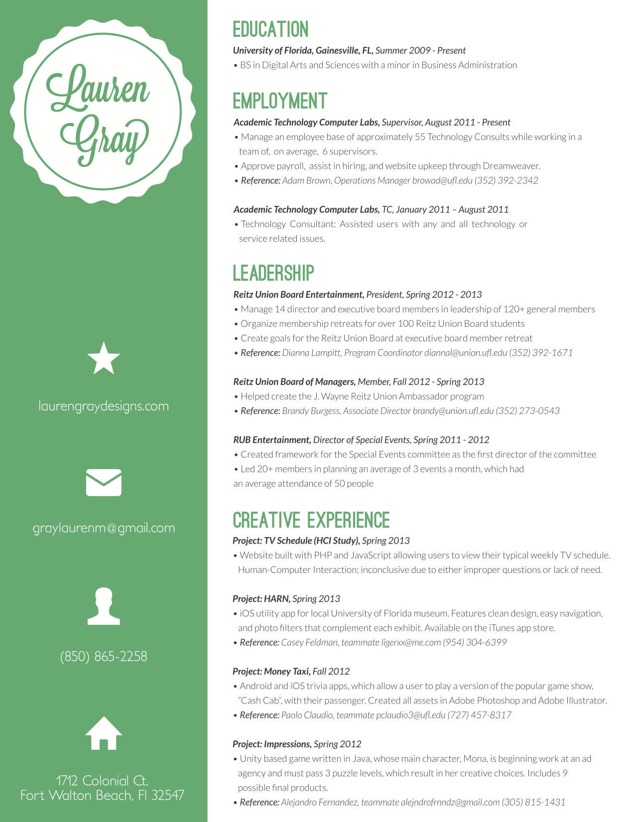 lauren gray resume design
