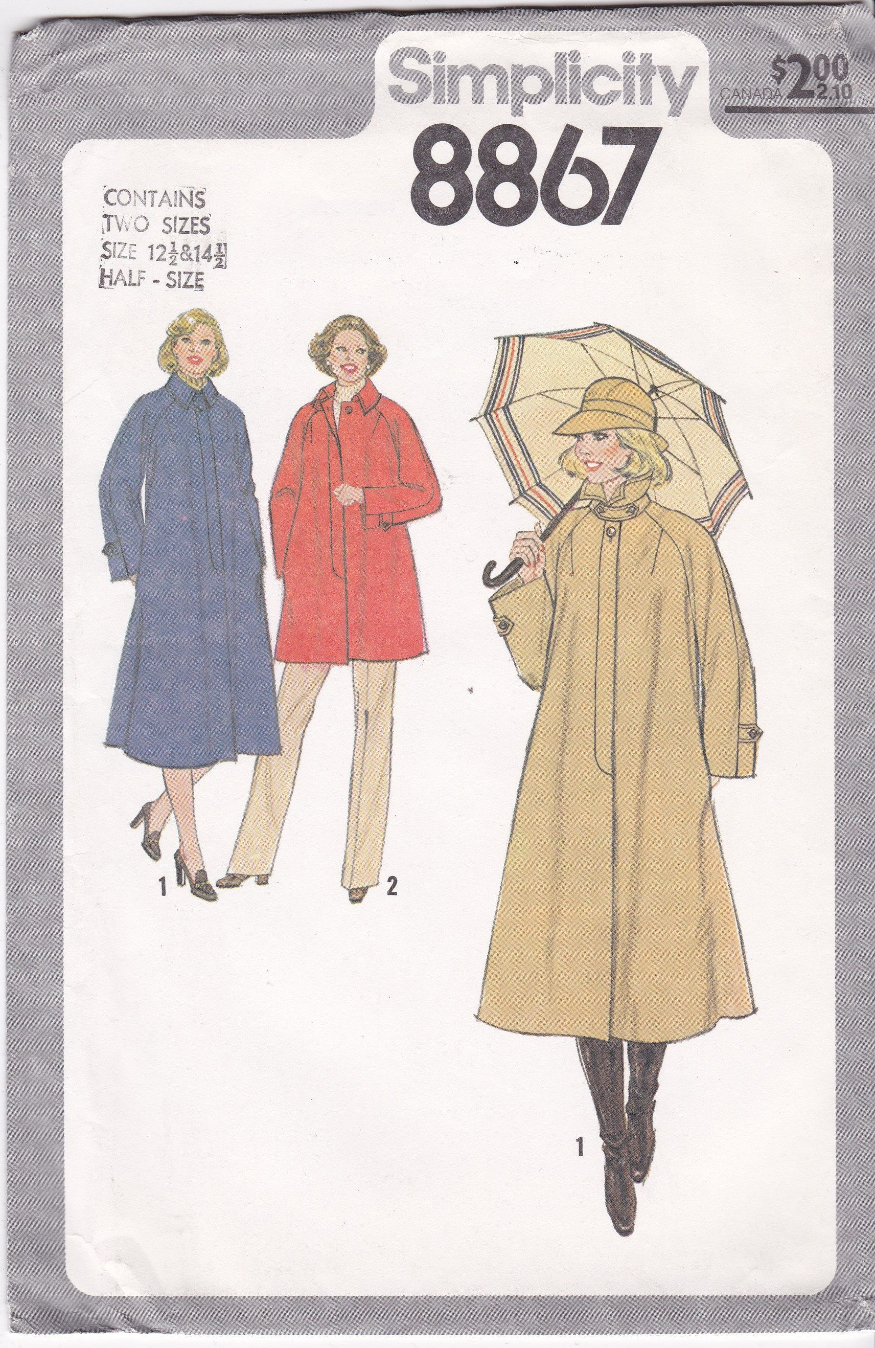 Coat Patterns Misses Half Size 12 5 14 5 Bust 35 Or 37 Lined