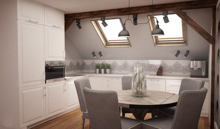 Zdjecie Bialo Szara Kuchnia Na Poddaszu Home Decor Kitchen Loft Kitchen Kitchen Interior