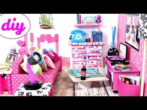 4 DIY Miniature Dollhouse Rooms - Kitchen, Living Room, Bedroom ...