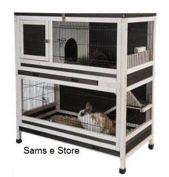 Small Pet Cage Indoor Lounge 2 Y Wooden Rabbits Or Guinea Pigs Hutch Accessible Via Multiple