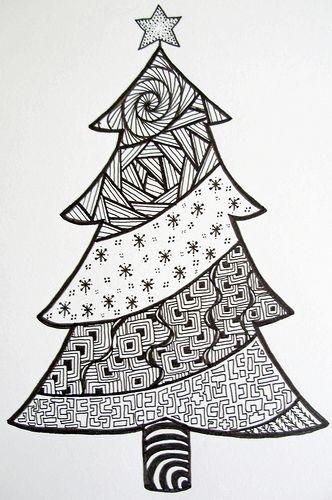 Christmas Tree Doodle : christmas, doodle, Christmas, Doodle, Z.Ford), Doodle,, Zentangle,, Zentangle, Patterns
