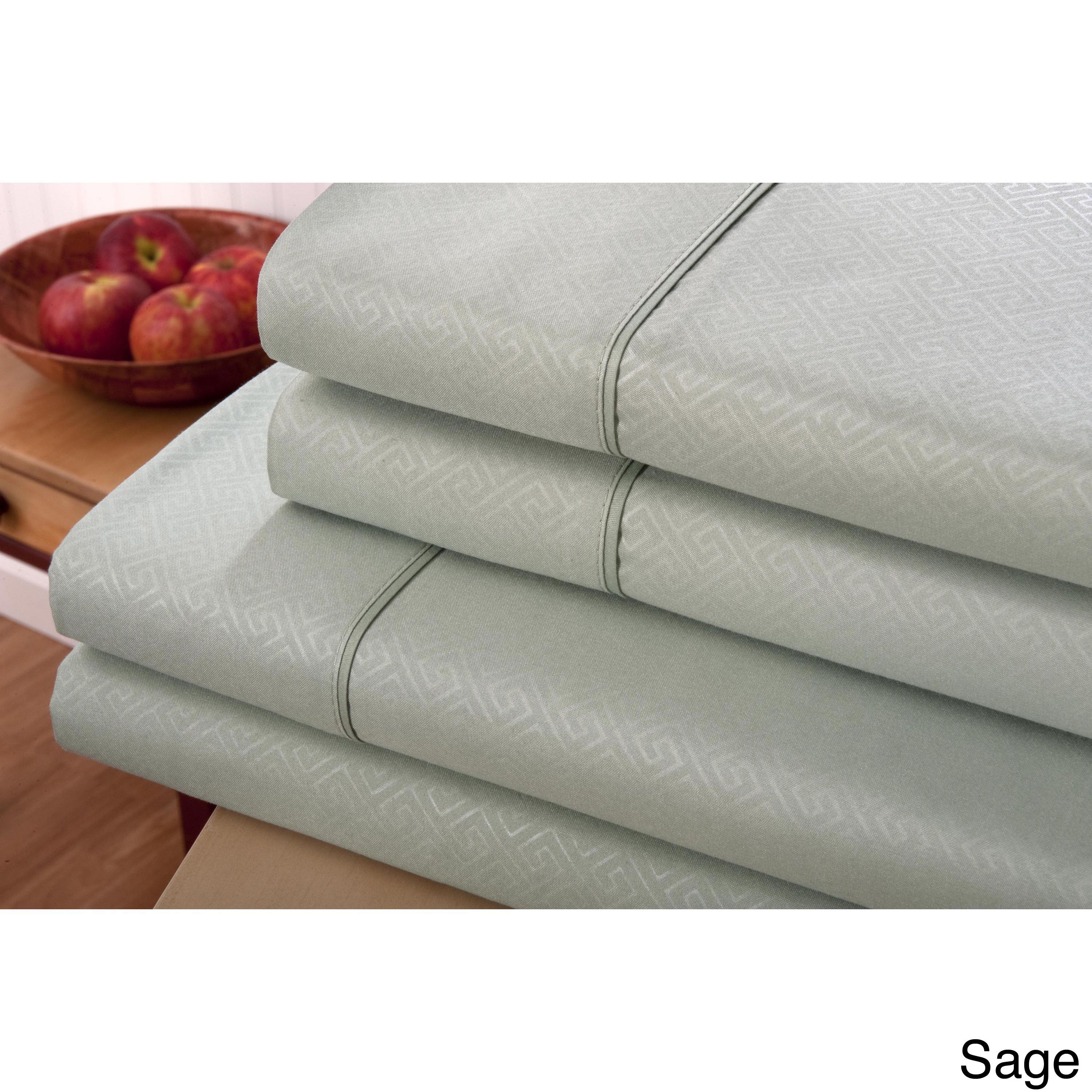 Signature Collection Embossed Greek Key 4-piece Sheet Set