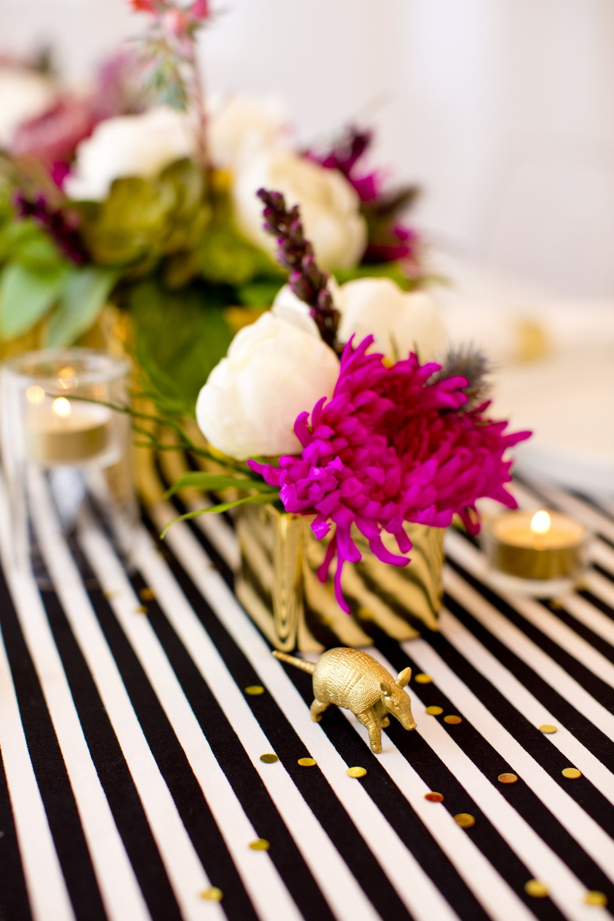 table setting for 27th birthday; little gold armadillo. photography &  design by ...