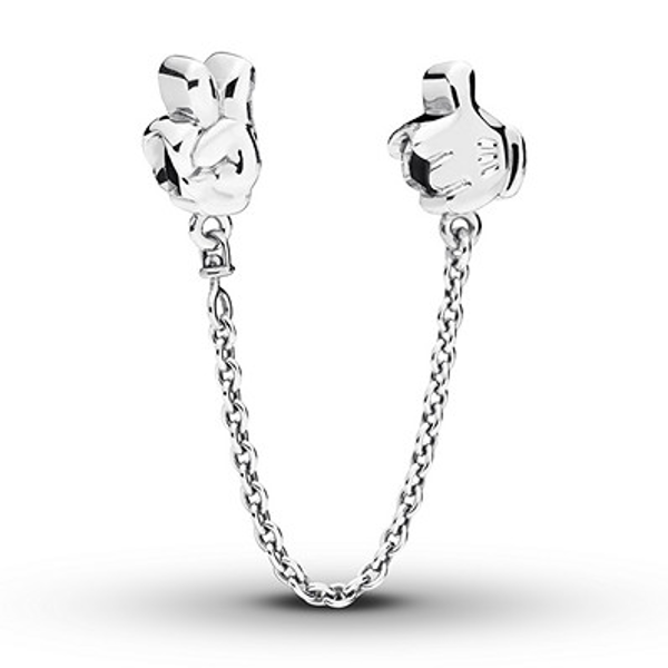 Pandora Disney Safety Chain Mickey Gestures Sterling