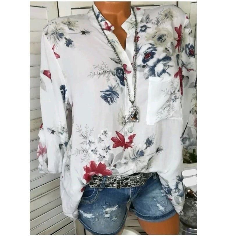 Women Plus Size Chiffon Floral Print Long Sleeve Blouse Pullover Tops T-Shirt