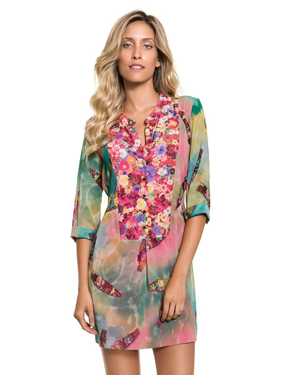 fbe909595e Vestido Estampado Com Manga e Laço Nas Costas Flower - Lez a Lez. Vestido  lindo de manga 3 4