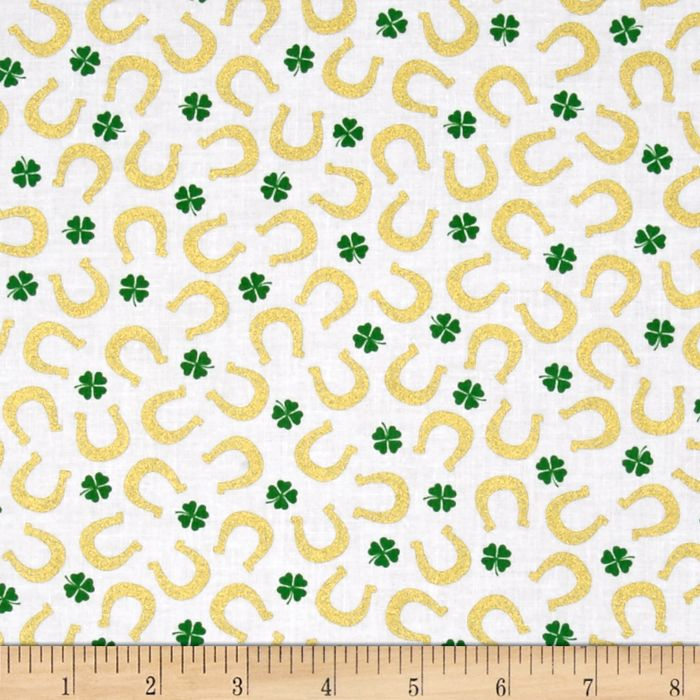 Kanvas Lucky Clovers Metallic Lucky Horseshoe White Fabric By The Yard